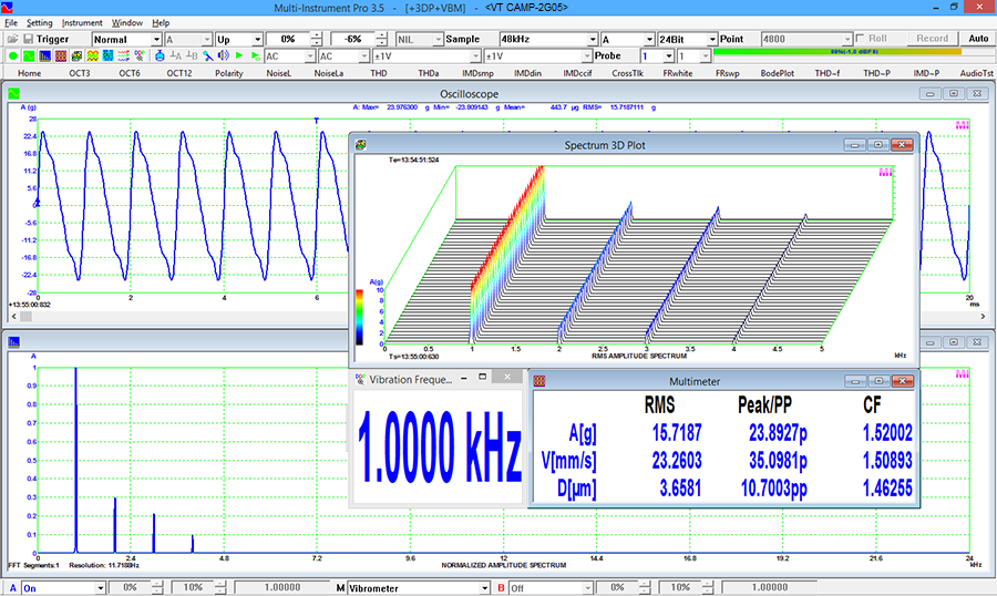 VT CAMP-2G05 with Multi-Instrument Pro + Spectrum 3D Plot + Vibrometer